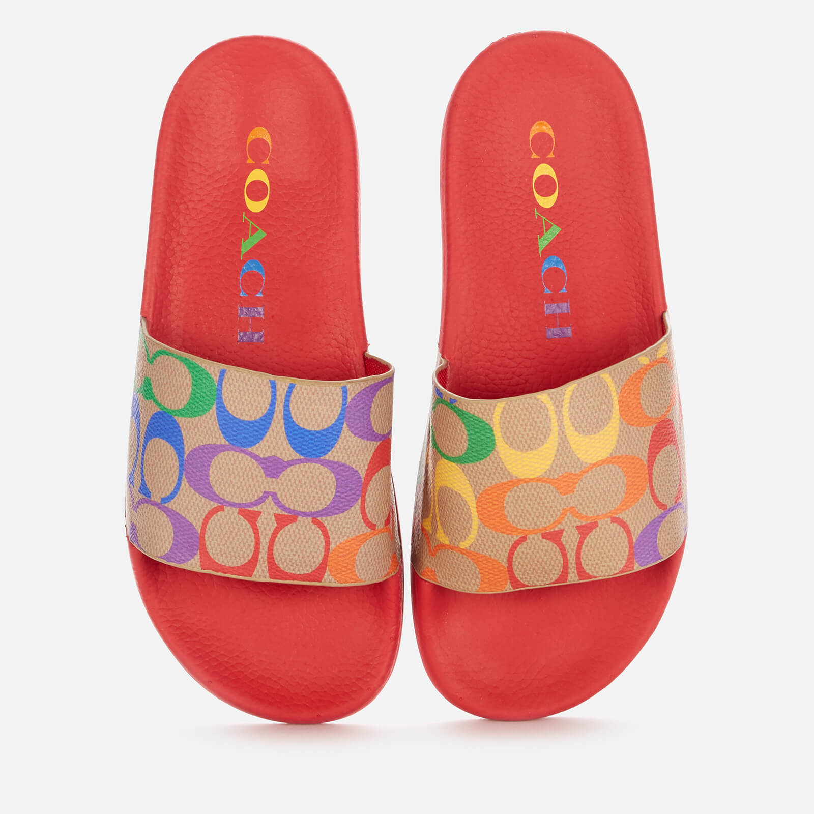 Coach Women's Pride Rubber Pool Slide Sandals - Chalk Multi - Uk 4