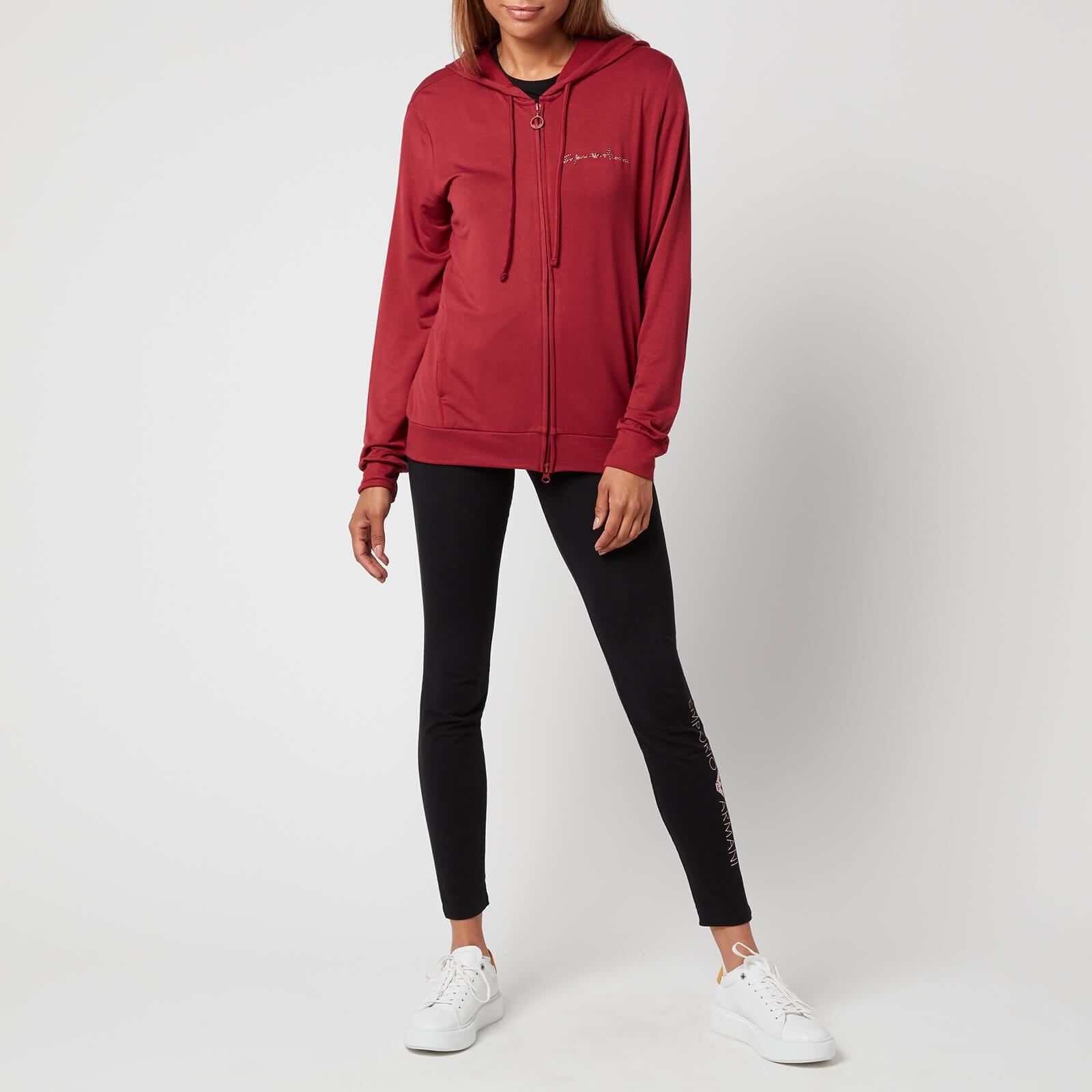 emporio armani loungewear women's signature full zip jacket with hood - pomegranate - xs