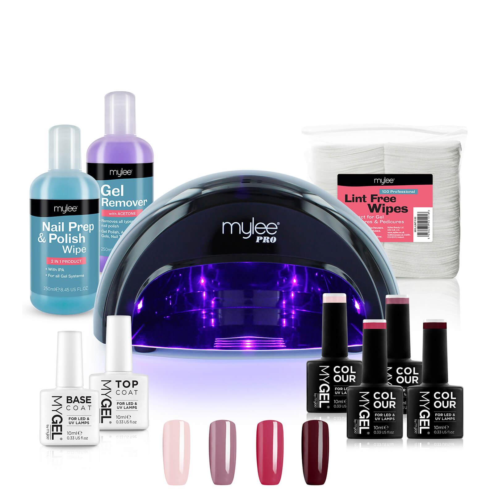 Mylee Black Convex Curing Lamp Kit with Gel Nail Polish Essentials Set