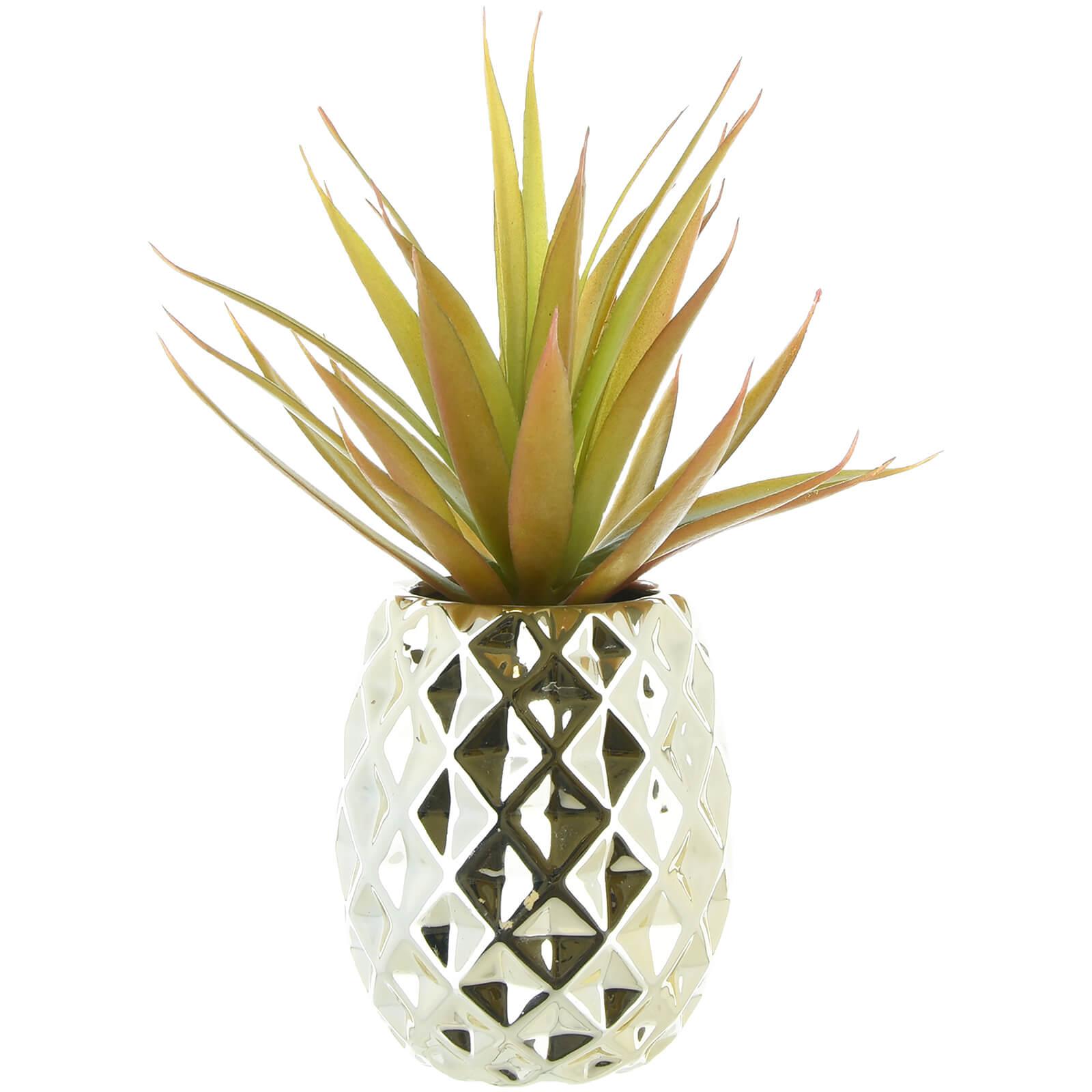 Image of Faux Aloe Vera Succulent Plant - Pineapple Pot