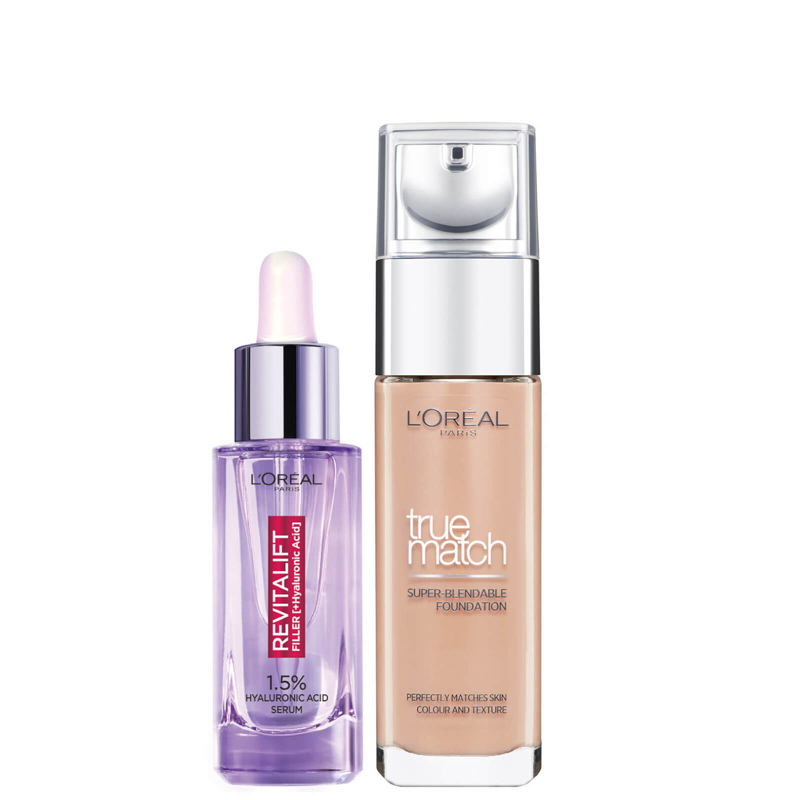 L'Oreal Paris Hyaluronic Acid Filler Serum and True Match Hyaluronic Acid Foundation Duo (Various Shades) - 6N Honey