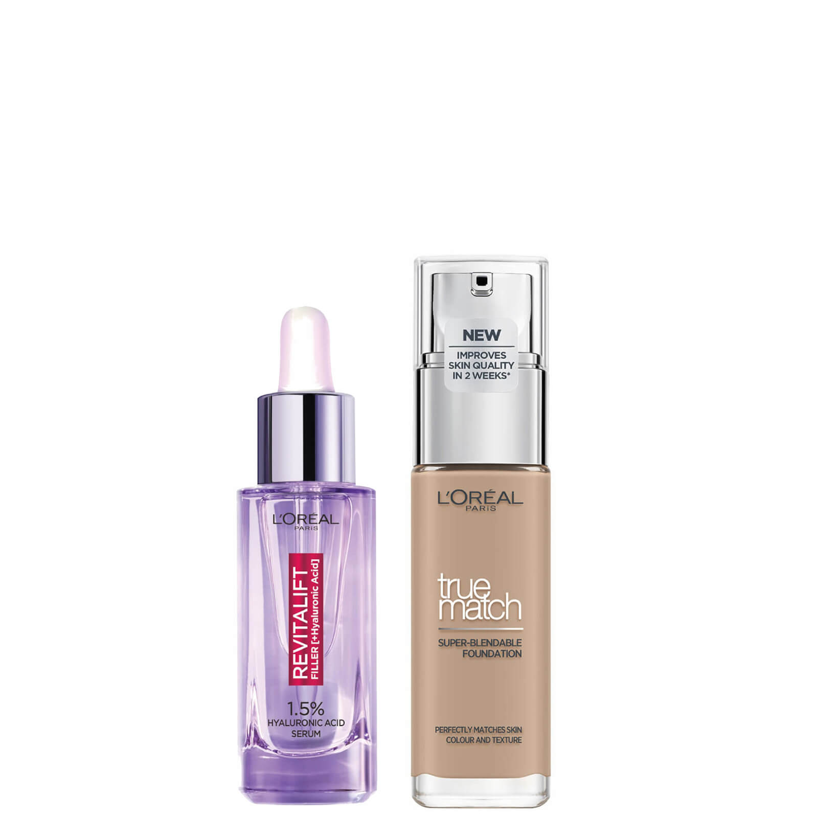 L'Oreal Paris Hyaluronic Acid Filler Serum and True Match Hyaluronic Acid Foundation Duo (Various Shades) - 4N Beige