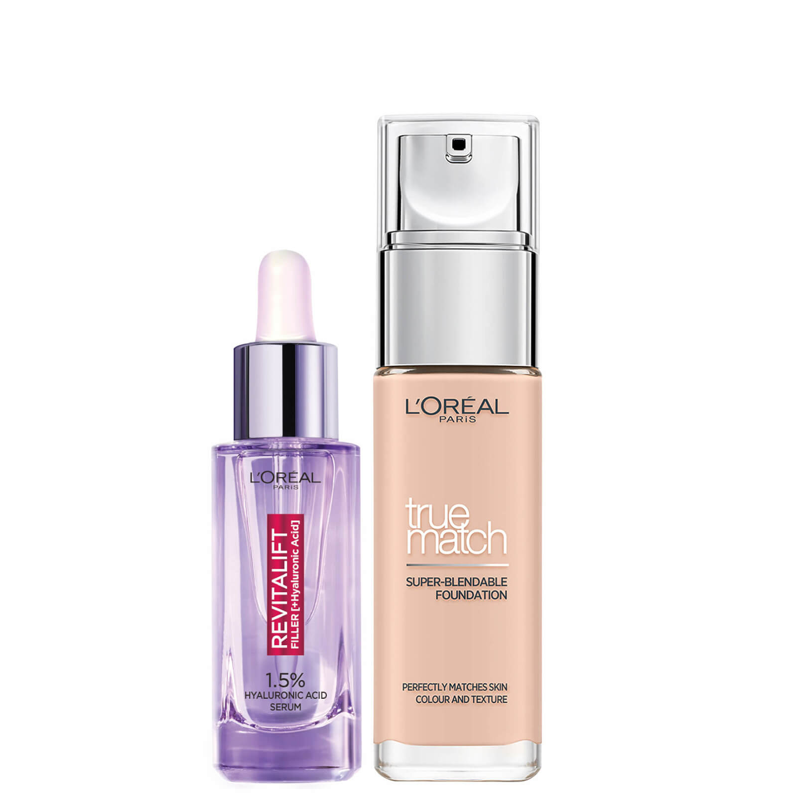 L'Oreal Paris Hyaluronic Acid Filler Serum and True Match Hyaluronic Acid Foundation Duo (Various Shades) - 0.5C Porcelain Rose