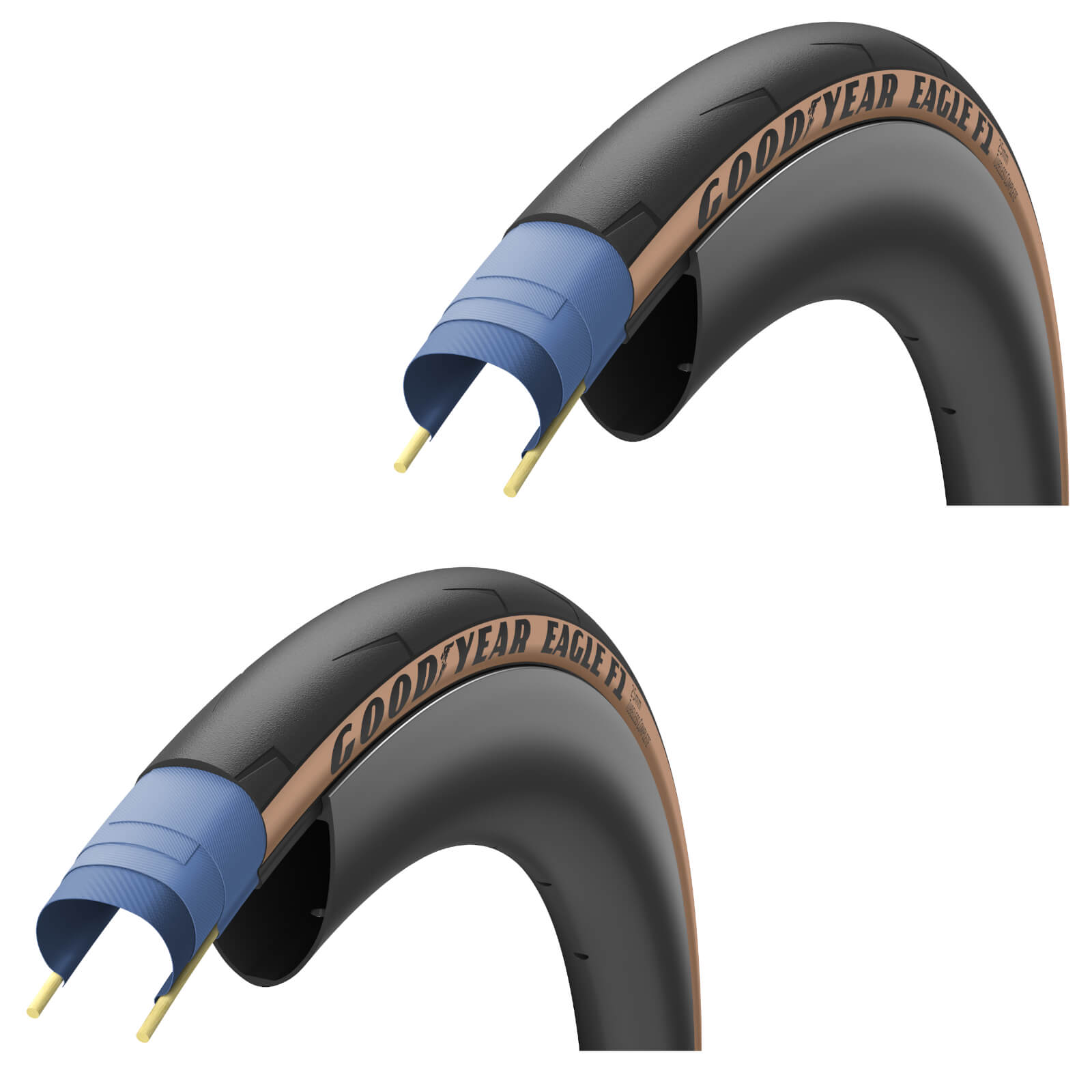 Goodyear Eagle F1 Tubeless Road Tyre Twin Pack - 700c x 25mm - Tan