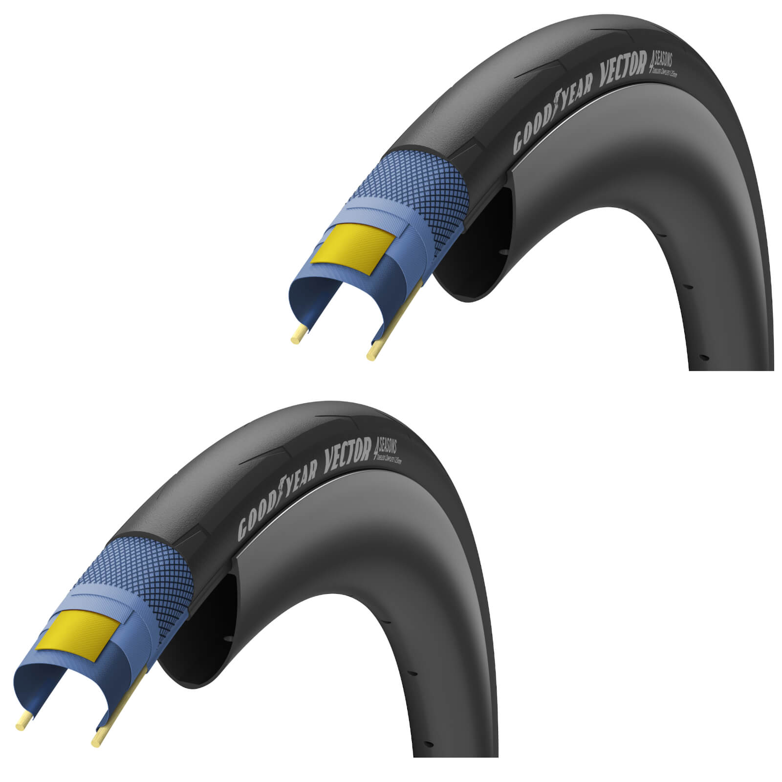 Image of Goodyear Vector 4Seasons Tubeless Road Tyre Twin Pack - 700C x 28mm