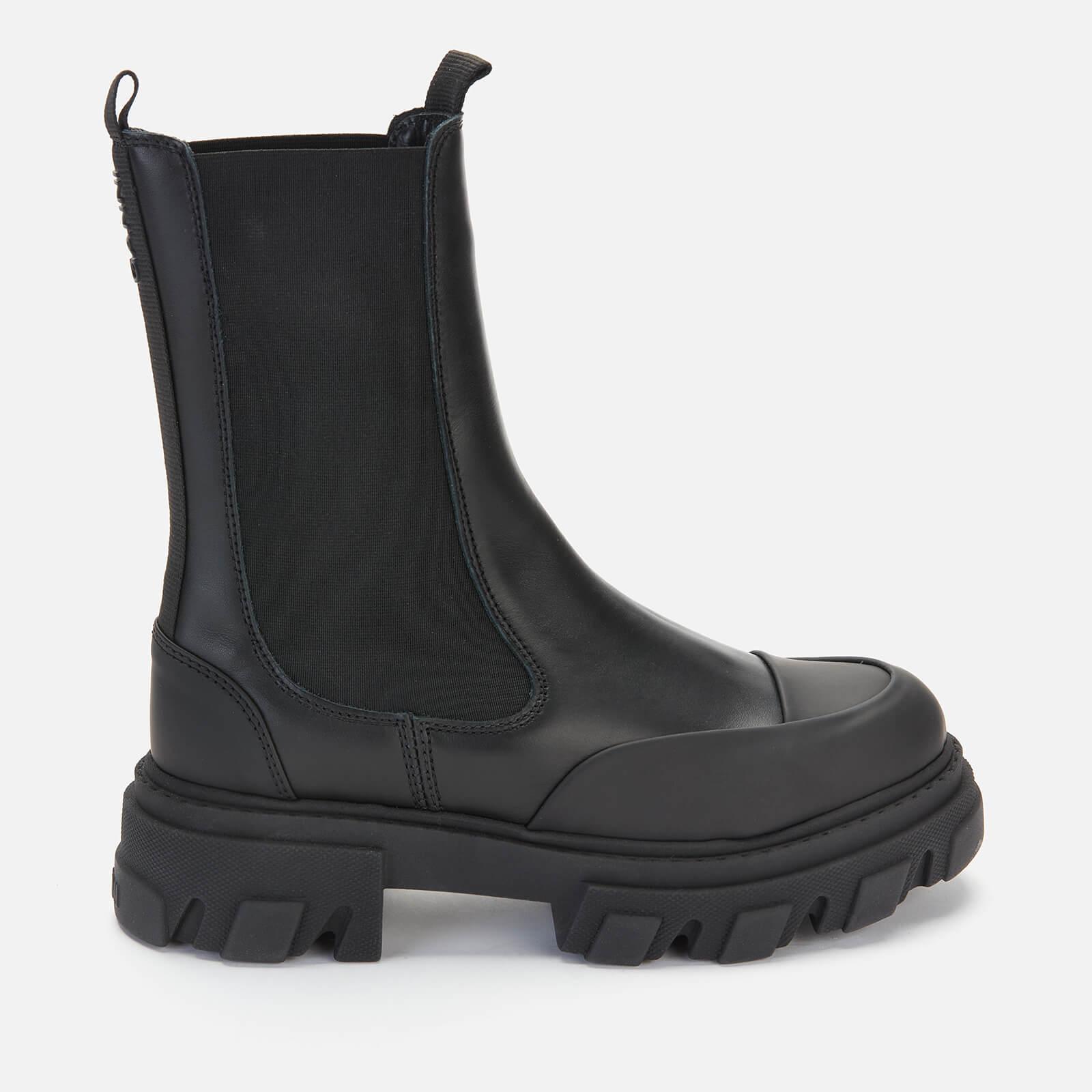 Ganni Women's Mid Leather Chelsea Boots - Black - Uk 8