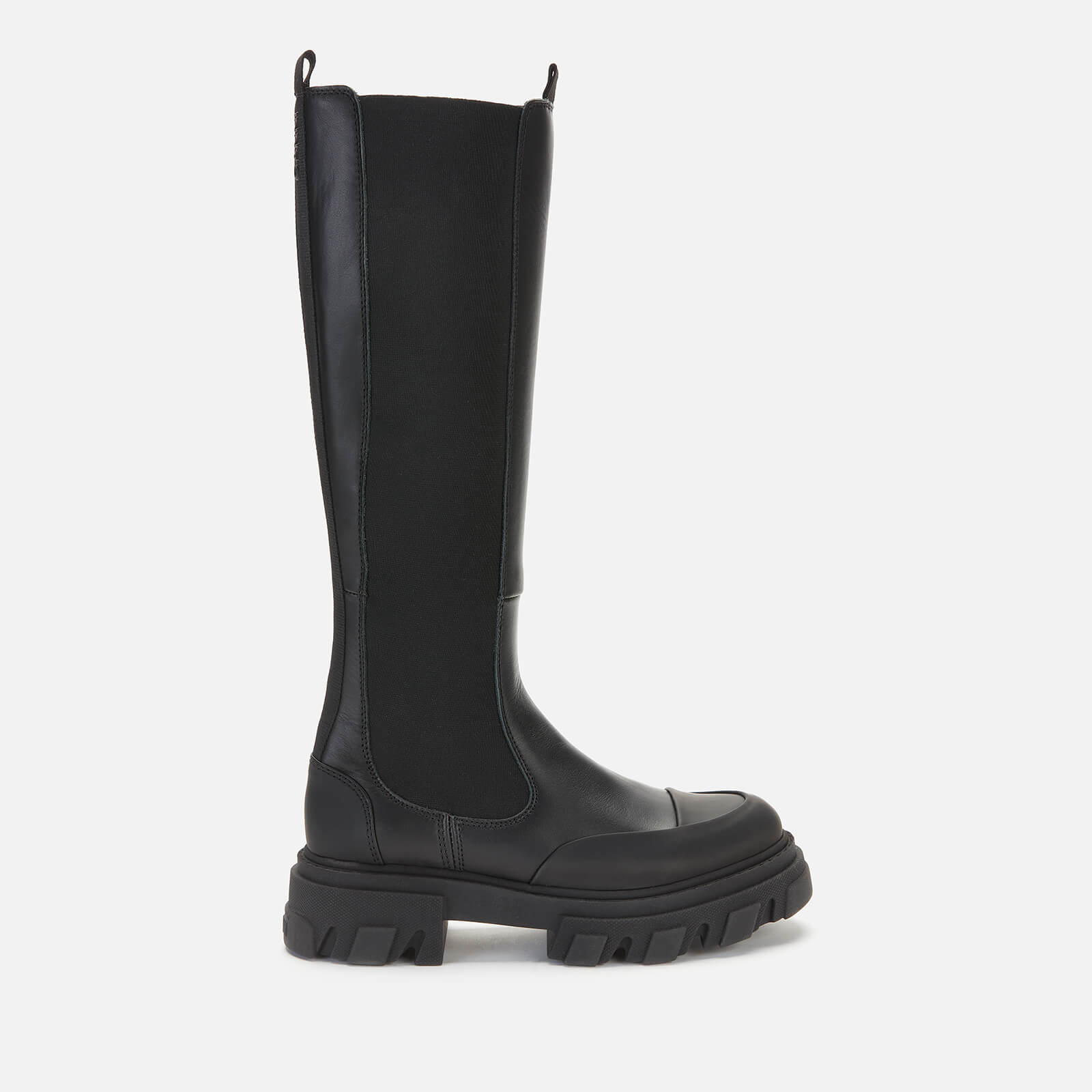 Ganni Women's Knee High Leather Chelsea Boots - Black - Uk 3