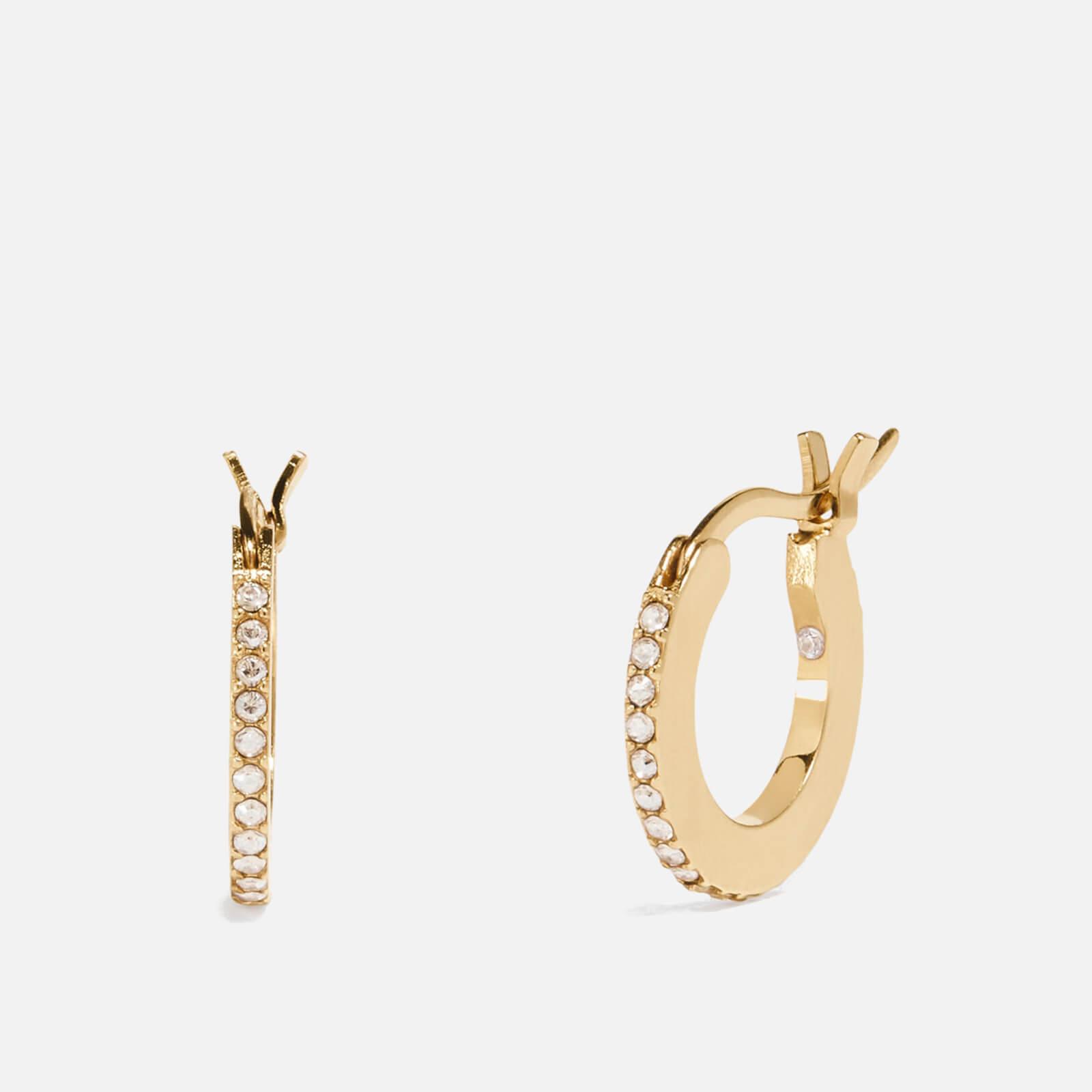 Coach Women's Pave Huggie Earrings - Gd/Clear