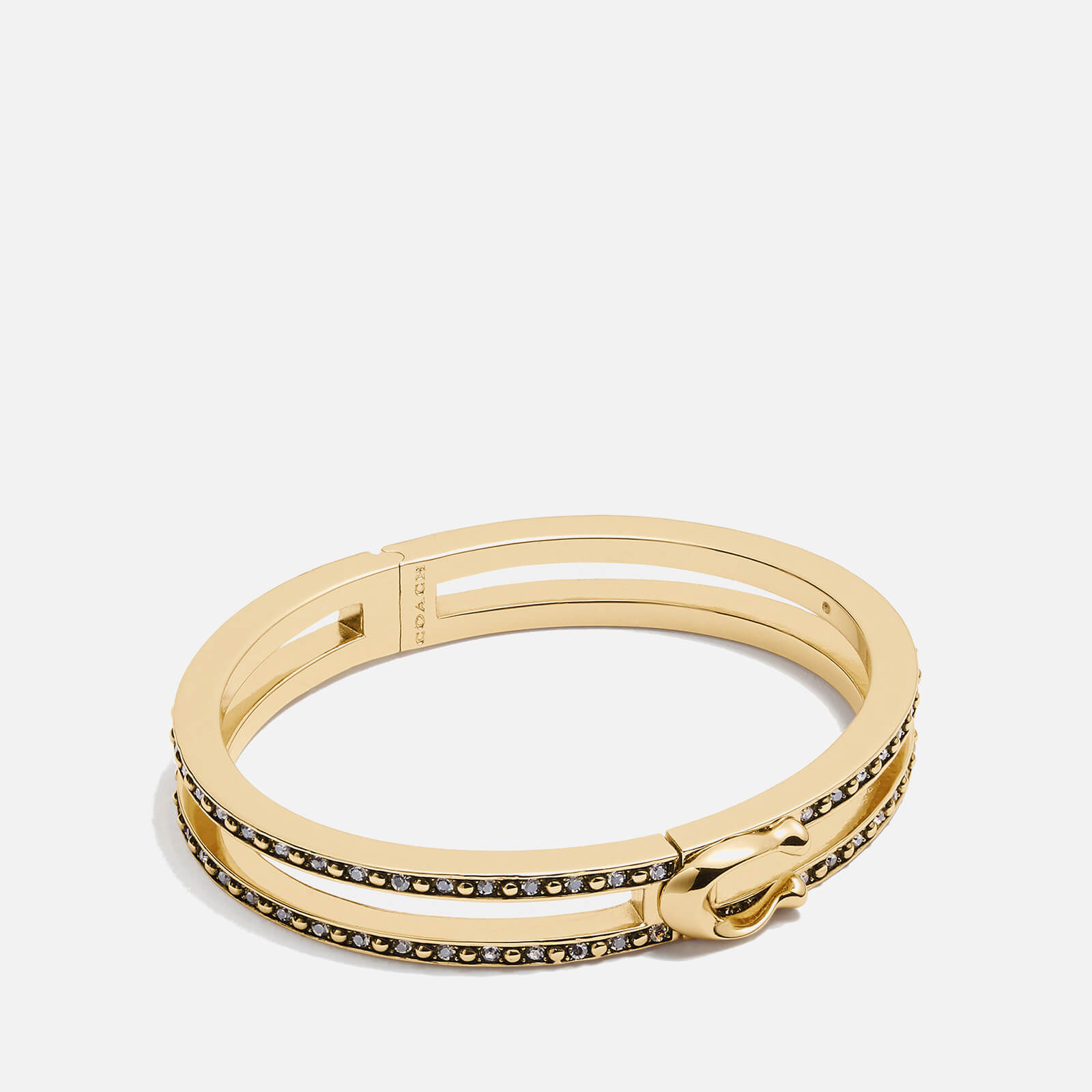 Coach Women's Double Row Pave C Hinged Bangle - Gold