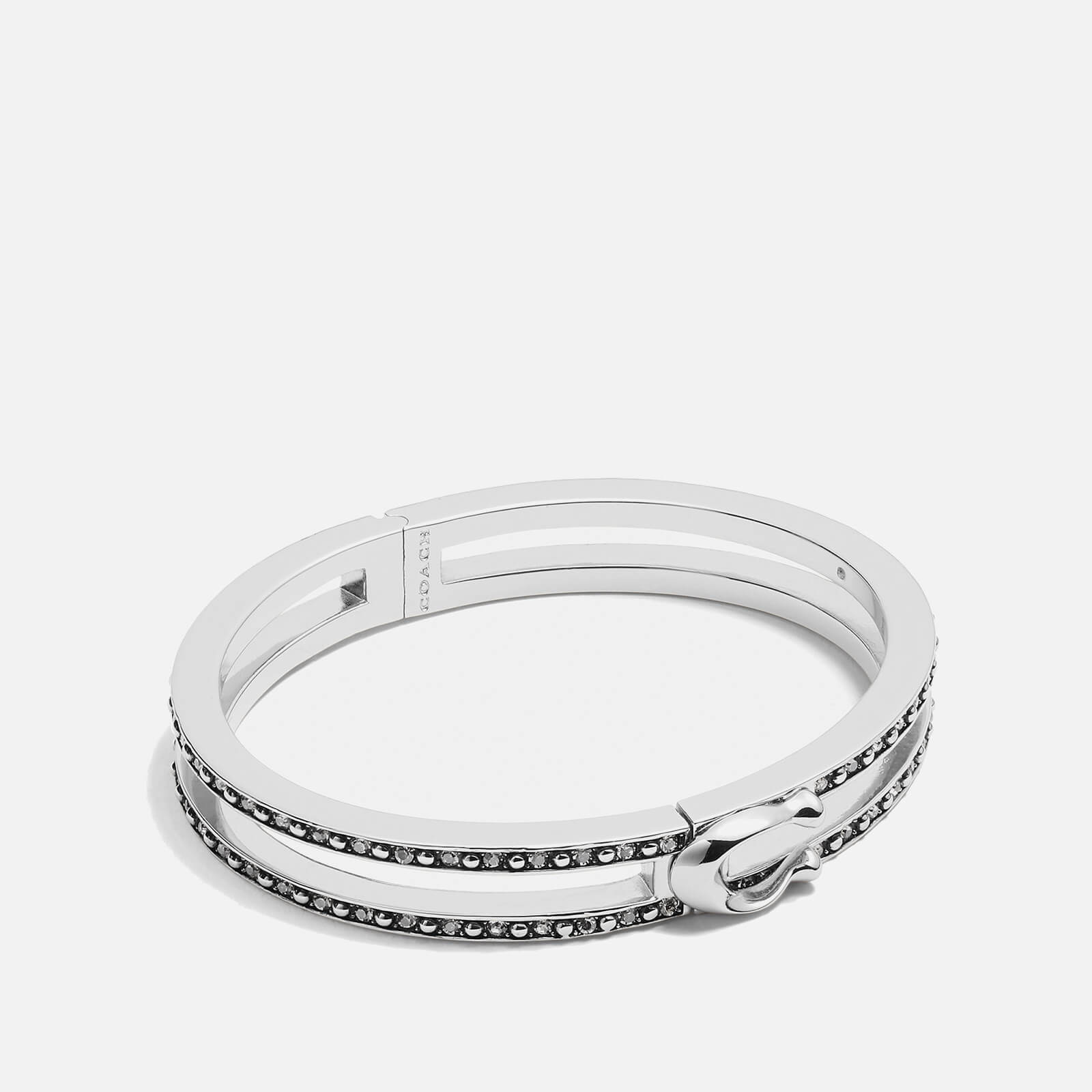 Coach Women's Double Row Pave C Hinged Bangle - Silver