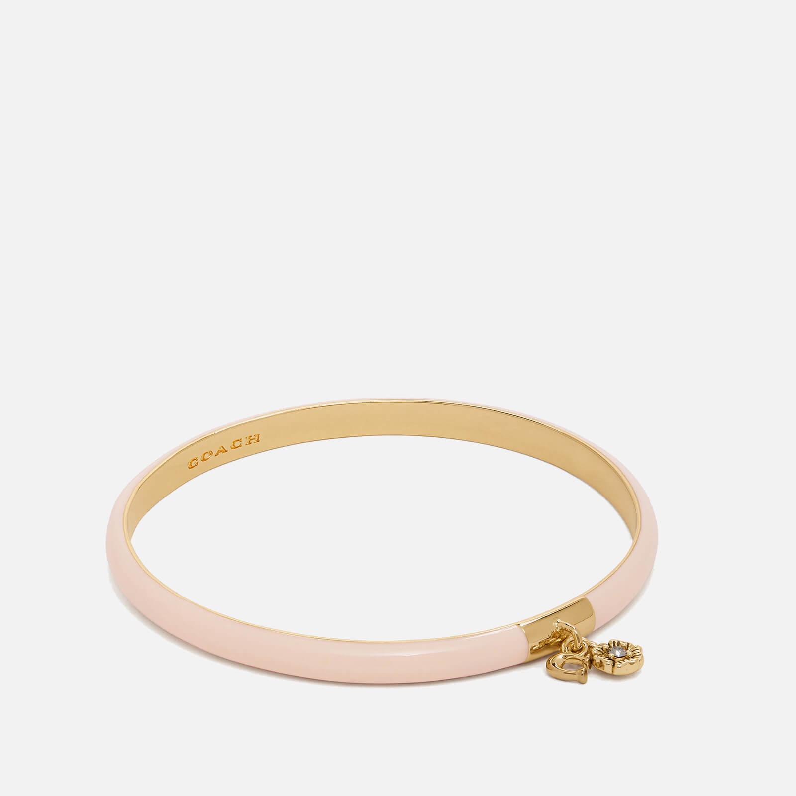 Coach Women's Pink Enamel Tea Rose Bangle - Gold/Pink