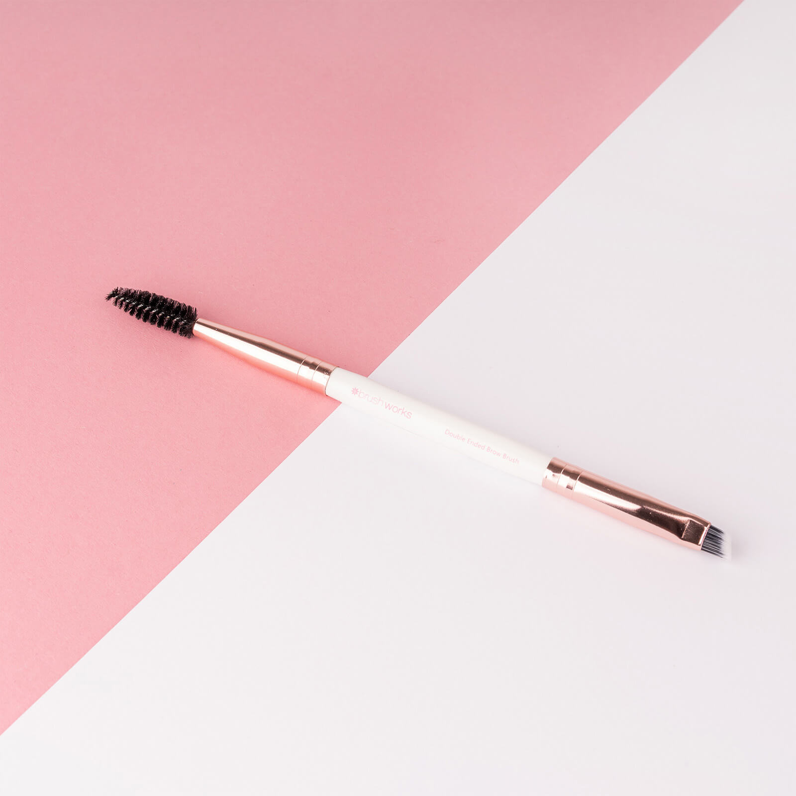 Brushworks White and Gold Brow Duo Brush
