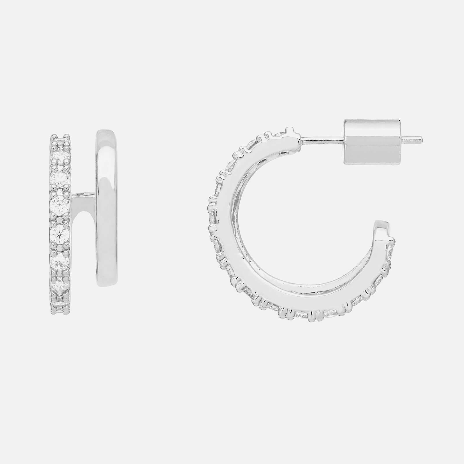 Estella Bartlett Women's Double Loop X43 Hoops with CZ - Silver Plate