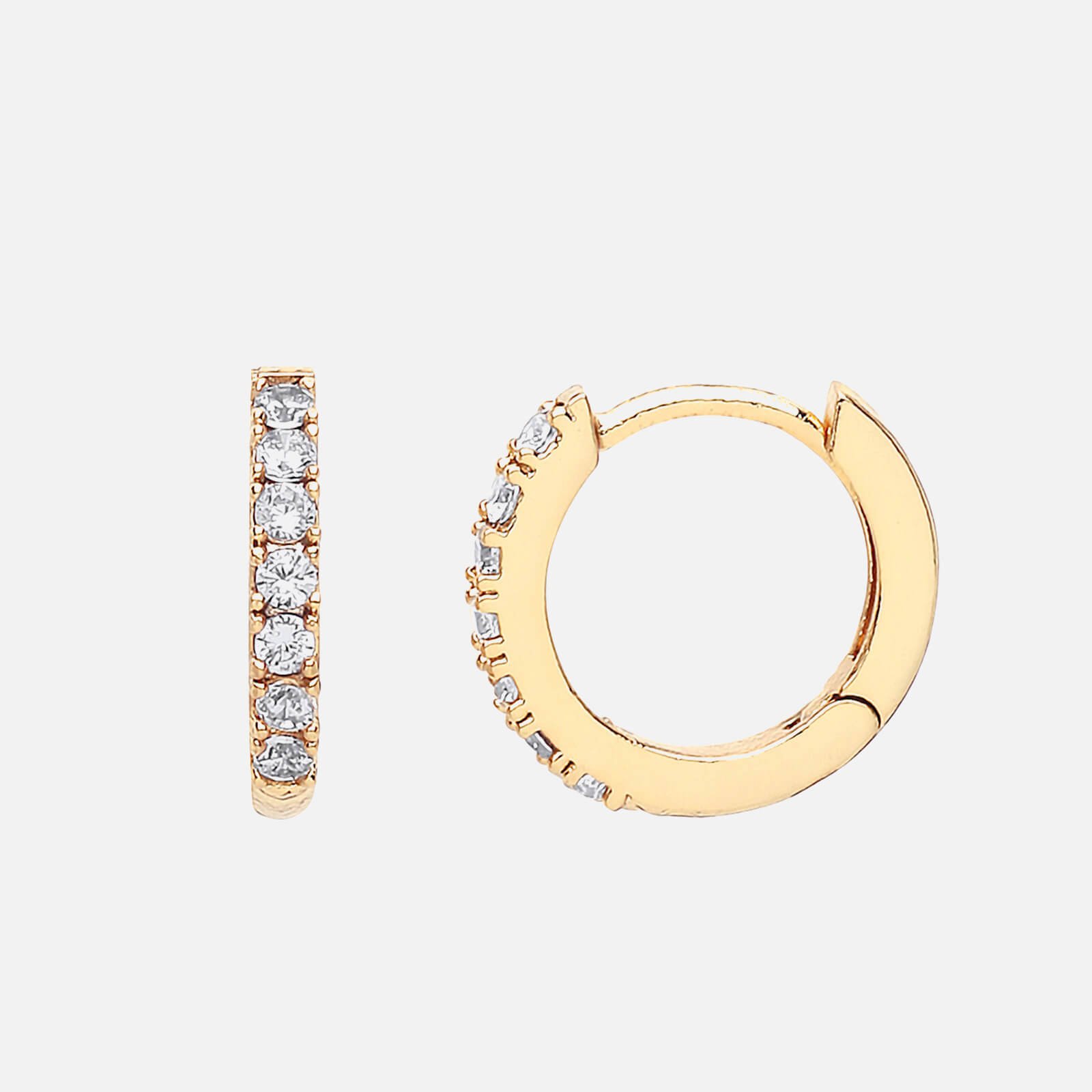 Estella Bartlett Women's Pave Set Hoop Earrings with White CZ- Gold Plated/NP