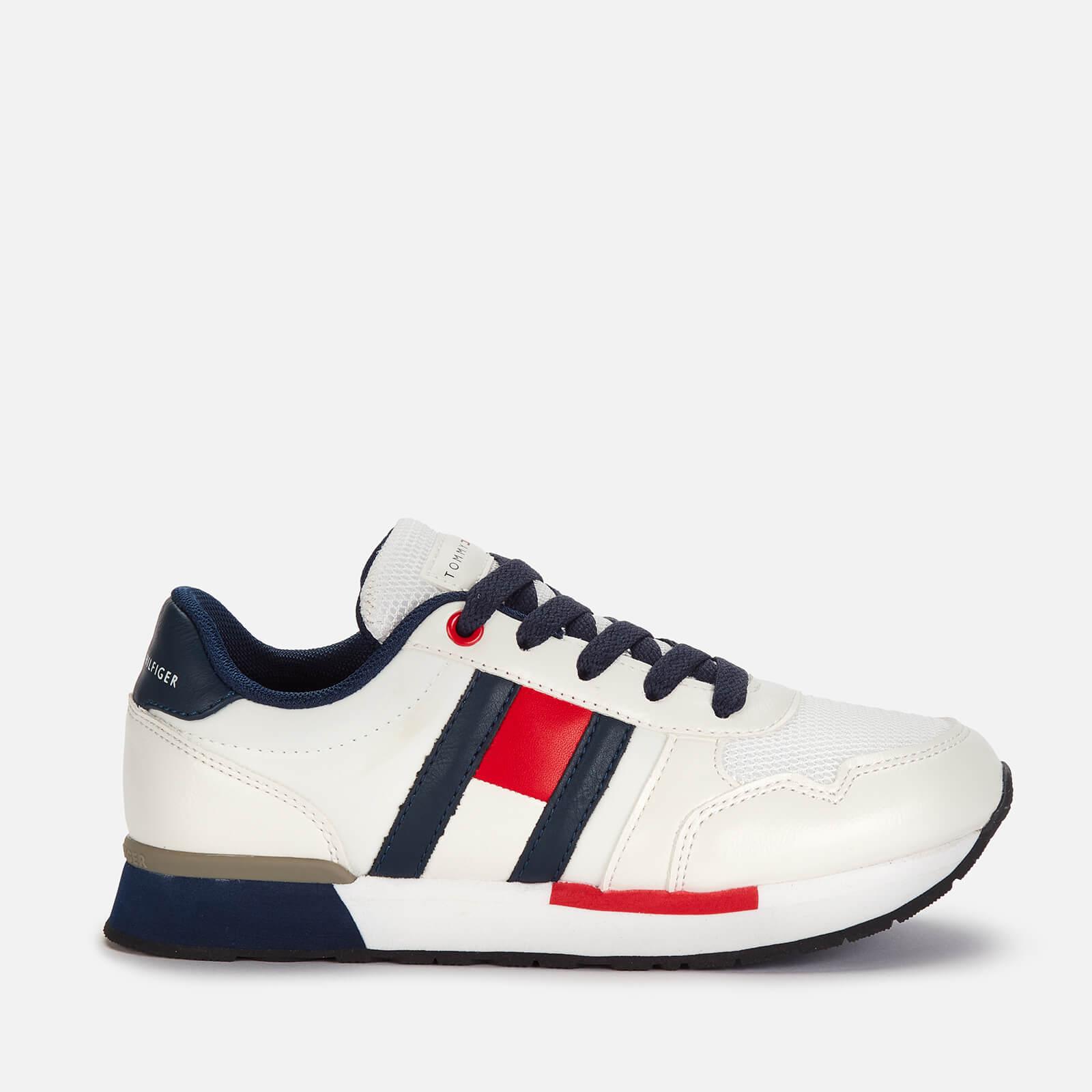 Tommy Hilfiger Boys' Low Cut Lace-Up Sneaker - White/B White/Blue - UK 12 Kids
