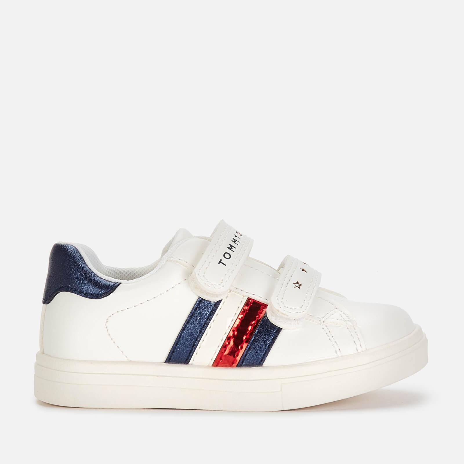 Tommy Hilfiger Girls' Low Cut Velcro Shoe - White/Blue - UK 4.5 Toddler