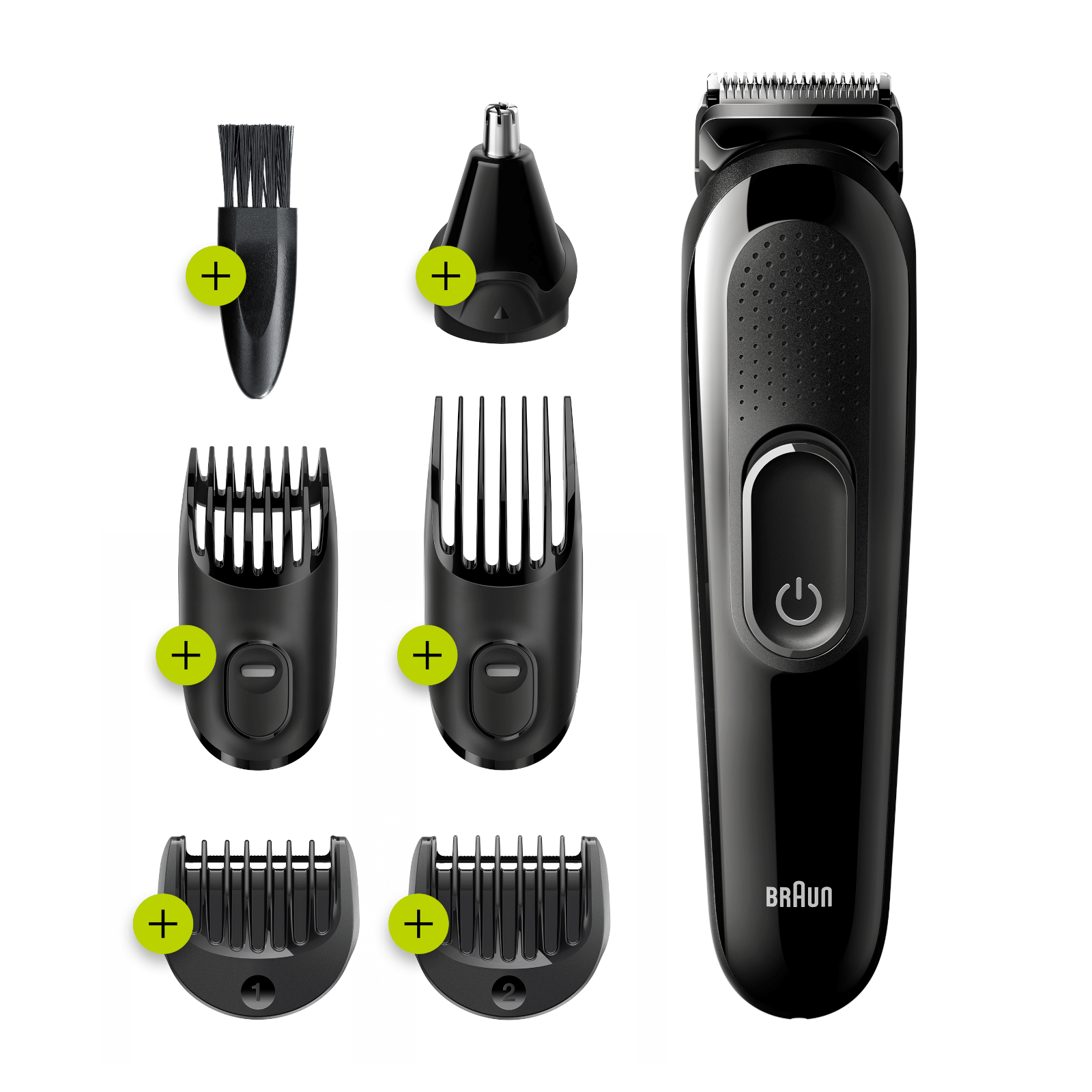 All-in-one Trimmer with 5 attachments incl. Ear/Nose trimmer - Black