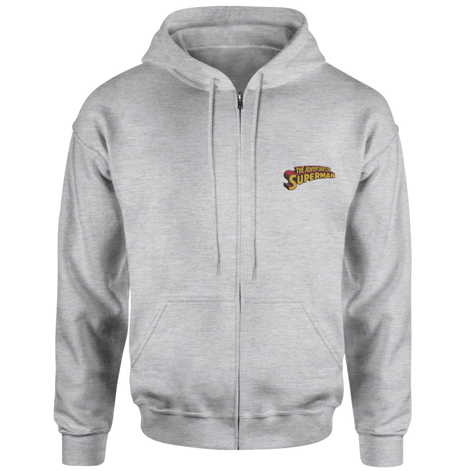 Superman Embroidered Unisex Zipped Hoodie - Grey - S