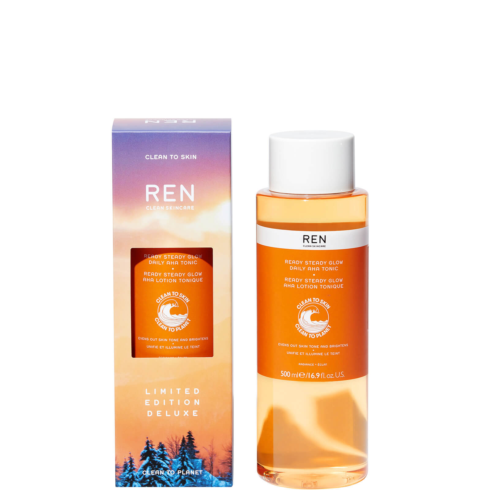 REN Clean Skincare Deluxe Ready Steady Glow Daily AHA Tonic 500ml