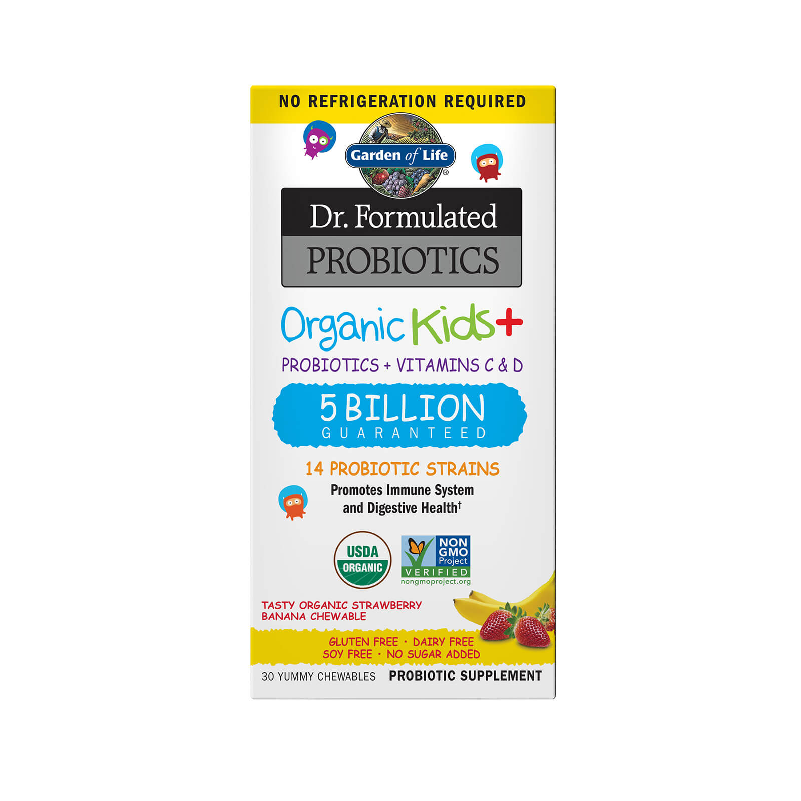 Microbiome Organic Kids' - Strawberry Banana - 30 Chewables Subscription - Fourmonthly