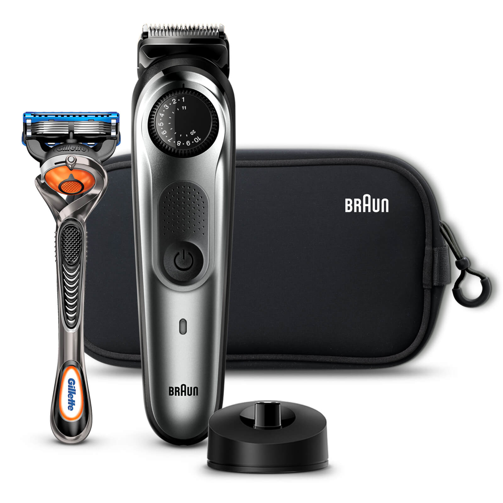 Beard Trimmer with 4 attachments, Gillette Razor and Charging Stand