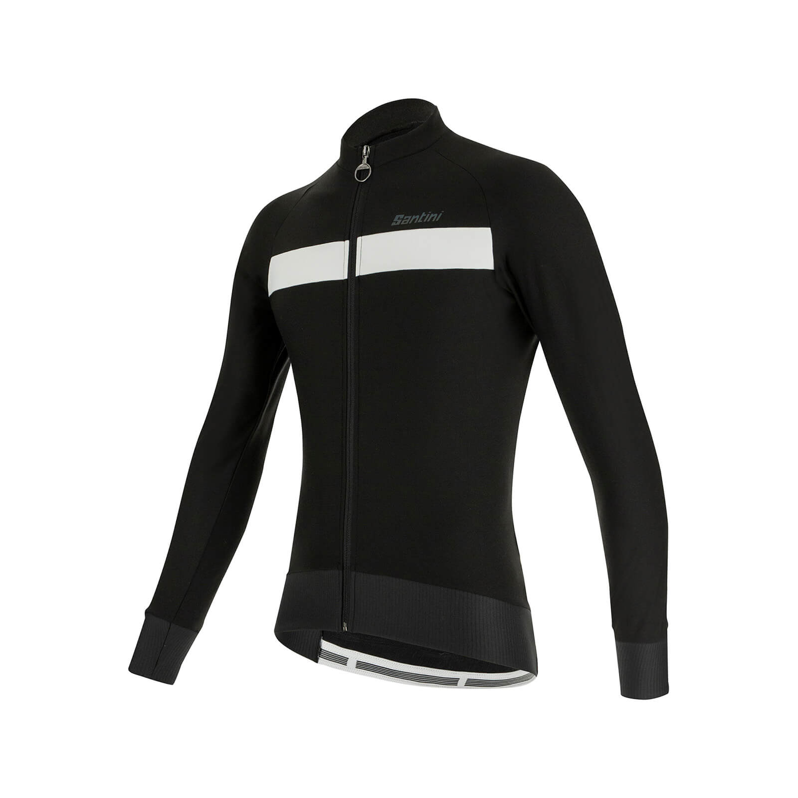 Santini Adapt Wool Long Sleeve Jersey - XL - Black/White