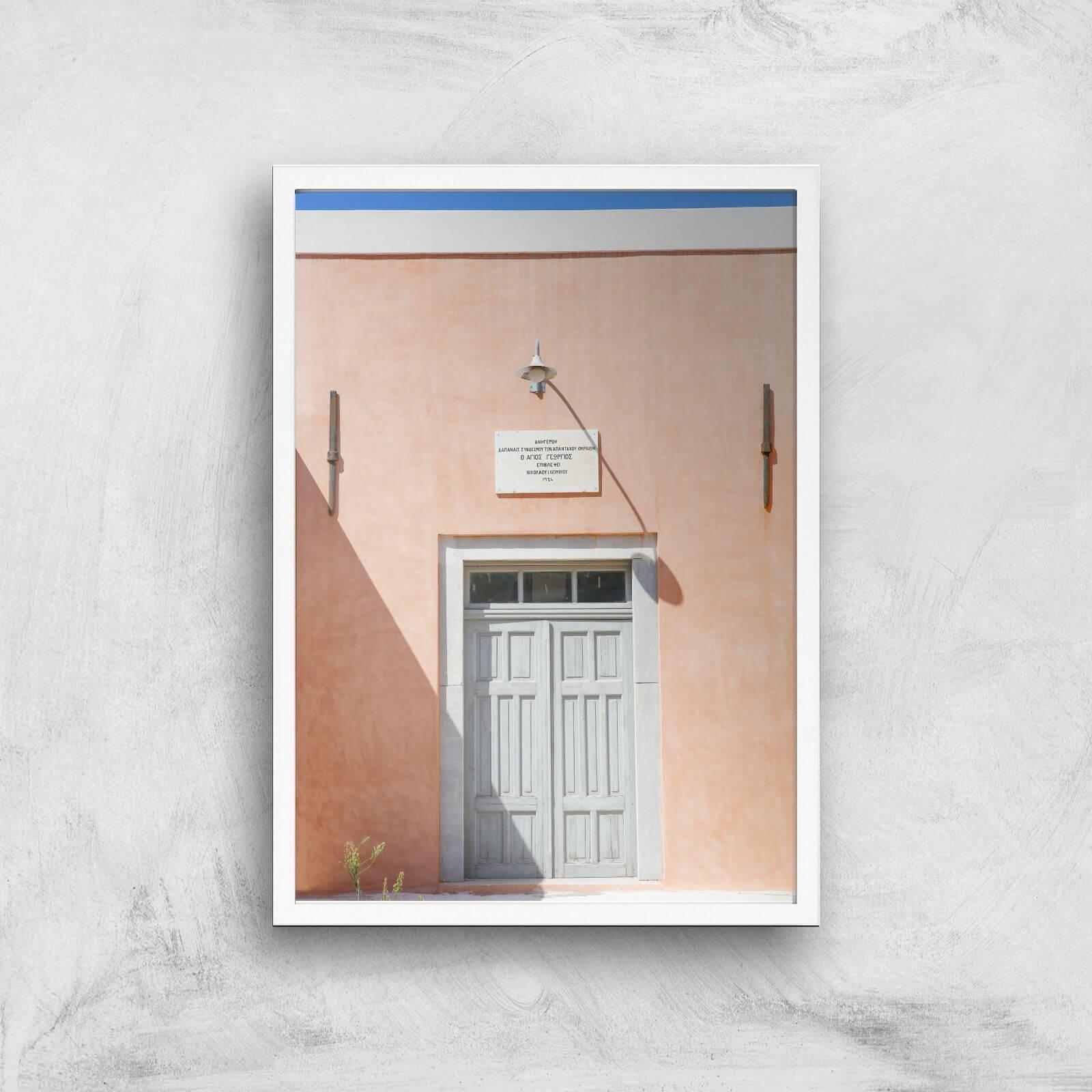 santorini secrets giclee art print - a3 - white frame