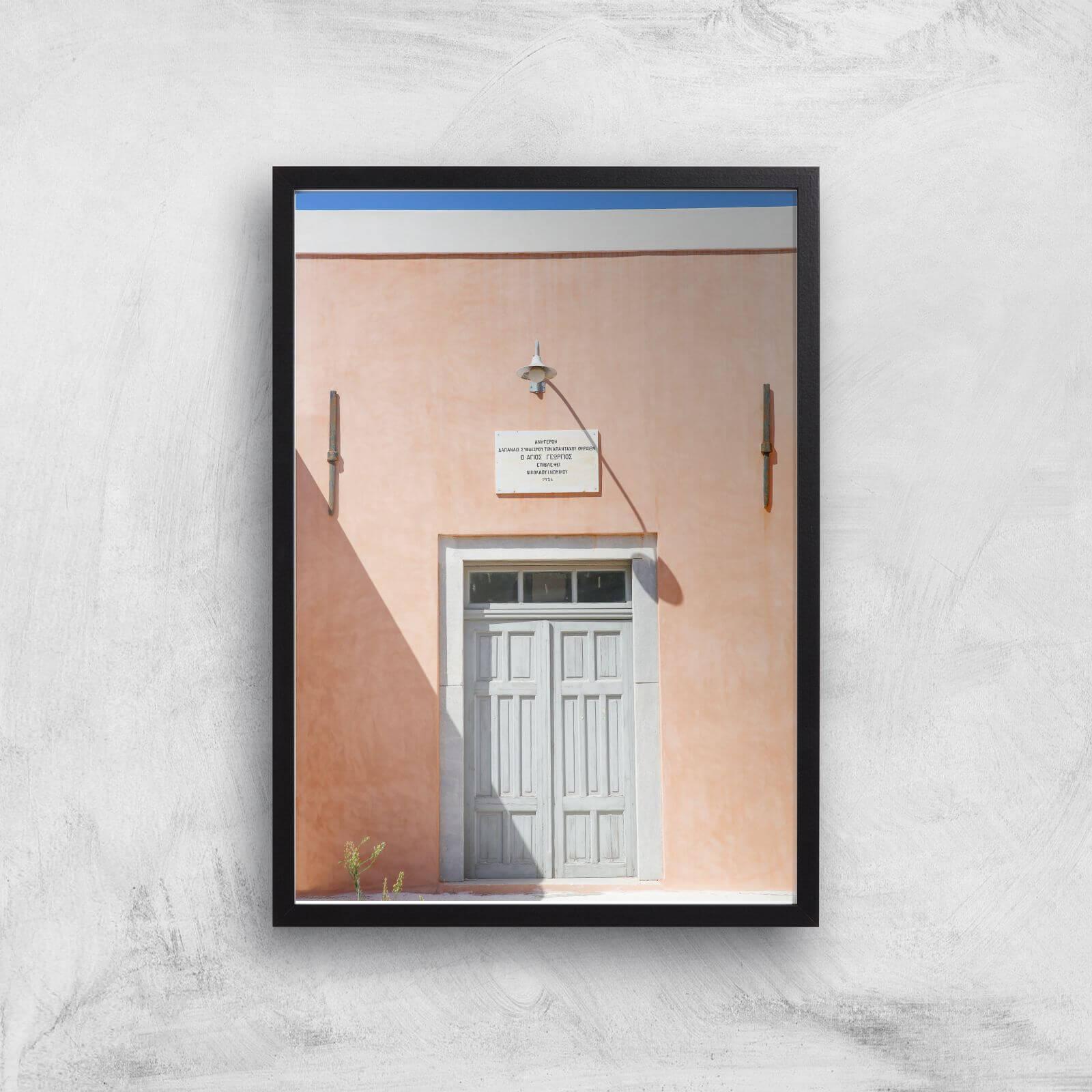 santorini secrets giclee art print - a3 - black frame