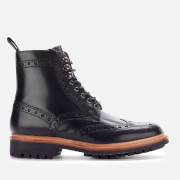 Grenson Men's Fred Leather Commando Sole Lace Up Boots - Black - UK 8 - Black