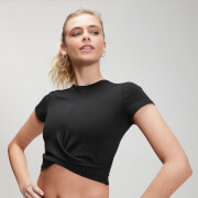 Crop Top Power manches courtes - Noir