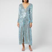 RIXO Women's Emmy Diagonal Sequin Stripe Dress - Blue - XS
