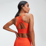 Power Longline Sports Bra - Orange Flamme - XS