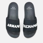 armani exchange men's slide sandals - blue/optical white - uk 8