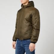 emporio armani men's reversible hooded padded jacket - khaki - xl