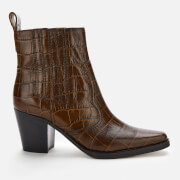 ganni women's leather croc heeled western style boots - chicory coffee - uk 3