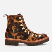 Grenson Women's Nanette Leopard Print Pony Hiking Style Boots - Brown - UK 4
