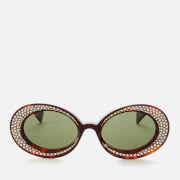 Gucci Women's Oval Diamonte Acetate Sunglasses - Havana/Green