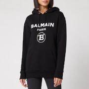 Balmain Women's Flocked Logo Hoodie - Black - XS