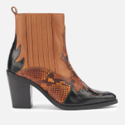 Kurt Geiger London Women's Damen Leather Western Style Boots - Tan Comb - UK 3