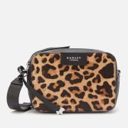 Radley Women's Alba Place Faux Leopard Small Cross Body Bag Zip Around - Black