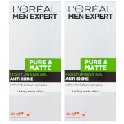 L'Oréal Men Expert Pure and Matte Anti-Shine Gel Moisturiser for Oily Skin 50ml 2 Pack Exclusive (Worth £9.98)