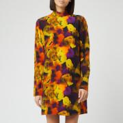 Ganni Women's Silk Mix Midi Dress - Lemon - EU 34/UK 6