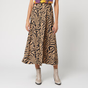 Ganni Women's Printed Crepe Zebra Midi Skirt - Tannin - EU 34/UK 6