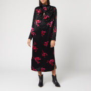 Ganni Women's Heavy Satin Floral Dress - Black - EU 34/UK 6