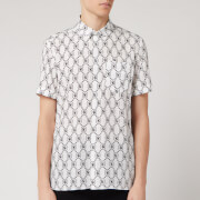 Neil Barrett Men's All Over Monogram Short Sleeve Shirt - White - S
