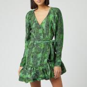 ROTATE Birger Christensen Women's Nancy Mini Wrap Dress - Stone Green - DK 34/UK 8