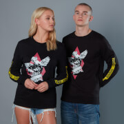 Yellow Warning Sleeve Unisex Birds of Prey Sweatshirt - Black