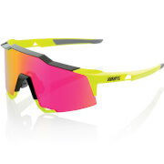 100% Speedcraft Sunglasses with Mirror Lens - Polished Black/Fluorescent Yellow/Purple Lens