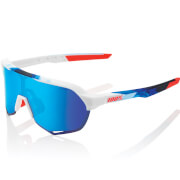100% S2 Sunglasses with HiPER Mirror Lens - Matt White/Geo Print/Blue Lens
