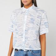 KENZO Women's Cropped Drawstring Shirt - Duck Blue - UK 6/EU 36